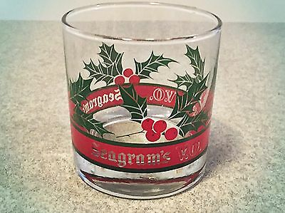 Seagrams V.O. Scotch Whiskey Christmas Holiday Glass Red Green Holly
