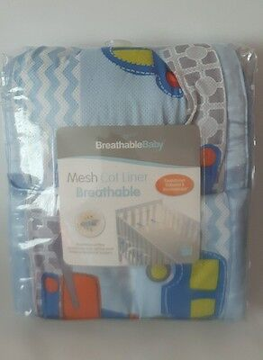Breathable Baby Boys 4 Sided Mesh Cot Liner Beep Beep Excellent Condition.