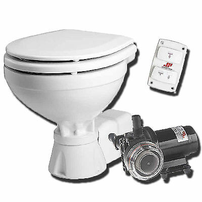 Compact 12 Volt Electric Boat Toilet c/w water pump and macerator
