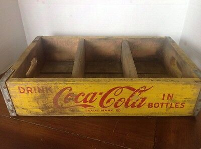 Rare 1969 Coca-Cola Wood 8 Pack Case Carrier Yellow/Red