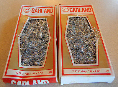 Vintage National Garland Christmas Tinsel Two Boxes Flameproof NEW