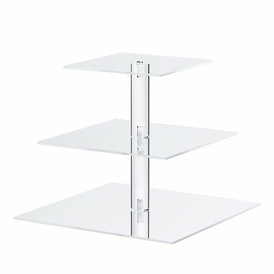 Utenlid Acrylic 3-Tier Square Stacked Party Cupcake Stand with Screw On Pillars