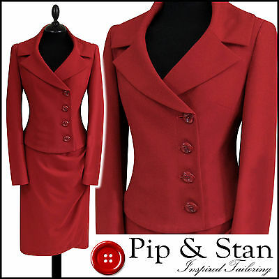 Next Uk8 Us4 Red Pencil Skirt Suit 50S Vintage Inspired Womens Ladies Size