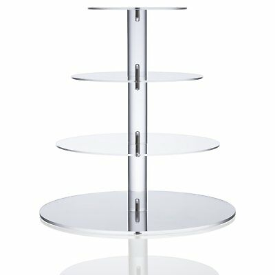 Utenlid Acrylic 4-Tier Round Stacked Party Cupcake Stand with Screw On Pillars