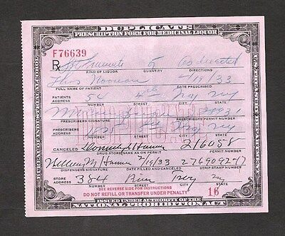 U.s. 1933 Prohibition Act Prescription For Whiskey, Troy, New York