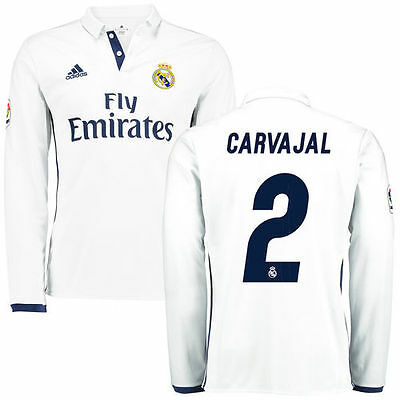 adidas Carvajal Real Madrid White 2016/17 Home Replica Long Sleeve Jersey