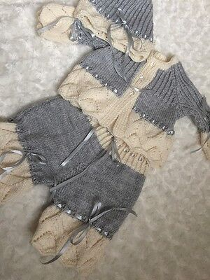 "New: Pretty Hand Knitted 3 Piece Outfit  For 24"" Reborn Baby Girl"