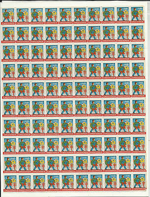 1945 Vintage CHRISTMAS SEALS Full Sheet Man w Wreath EXCELLENT CONDITION Unused