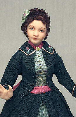 Miniature Porcelain Dollhouse Doll in 1:12 or 1/12th Scale-Victorian Lady