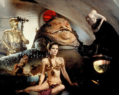 1983 CARRIE FISHER Princess Leia & Jabba the Hutt Glossy 8x10 Photo Star Wars