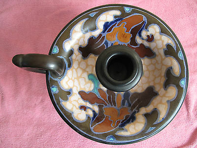 Antique Gouda  Zuid Holland Candle Chamberstick c.1929 Hand Painted