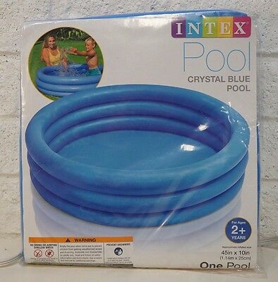 Inflatable Crystal Blue Swimming Pool Kids Fun Hot Summer (45in X 10in)