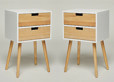 Set of 2 Bedside Table Nightstand 2 Drawers White Retro Chic Side Tables Console