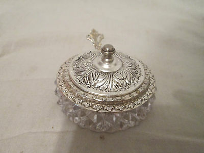 1950's Silver Plated Small Crystal Sugar Bowl w/Spoon & Lid