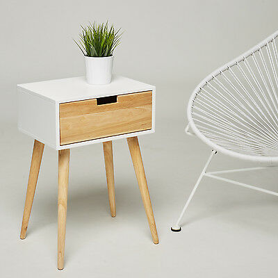 Bedside Table Nightstand - 1 Drawer - White Retro Chic Side Tables Console Hall