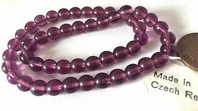 Vintage Czech 6mm Translucent Purple Amethyst Glass Beads 50