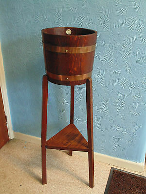 RARE ANTIQUE EARLY 20thC R. A. LISTER ENGLISH OAK BRASS BANDED JARDINAIRE STAND