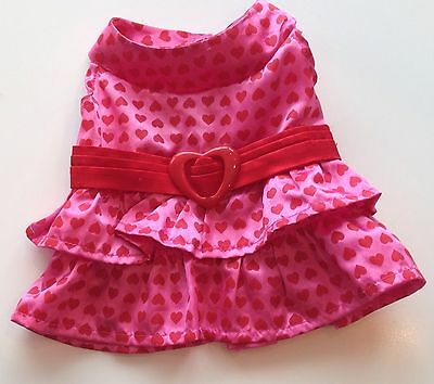 Build A Bear Clothes - Satin Pink Heart Valentines Dress