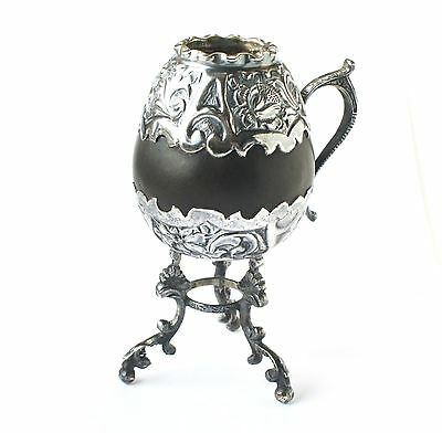 Antique South American 19thc Spanish Colonial Gourd Silver Mate Cup Bombilla