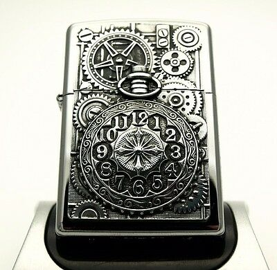 Rare Zippo Lighter - WATCH WHEELS AND COGS - Heavy plate Time piece clock ZIPPOS