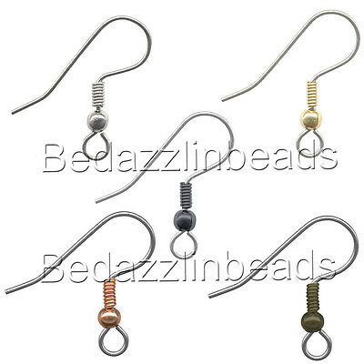 20 Surgical 304 Grade Stainless Steel Fancy Open Hook Earring Findings With Ball