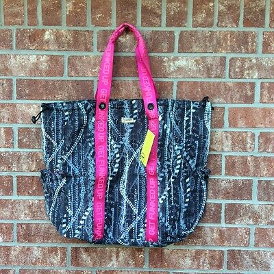 """NEW Zumba Fitness Get Funked Up LARGE 22""""x18"""" TOTE BAG Black ~ Travel~ DURABLE!"""