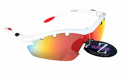 RayZor 612 Uv400 White Framed Vented Red Mirrored Lens Cricket Sunglasses RRP£49