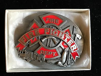 Cast Metal Fire Fighter Belt Buckle - Siskiyou R-92 Firefighter