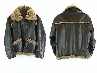 Vintage Brown Leather Cooper American Pilot Bomber Style Jacket Aviator Flight