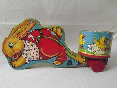 Vintage Great Fisher Price Easter Bunny Rabbit Cart Pull Toy #15 Easter Wood