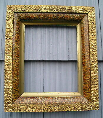 Antique Aesthetic Eastlake Victorian Marbled Floral Gilt Edge Picture Frame 8~10