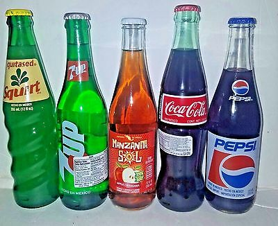 10_Bottles Of Mixed Mexican Sodas. Coca-Cola_Pepsi Cola_7Up_Squirt_Mansanita Sol