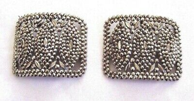 Antique Victorian LG Pair of FRENCH CUT STEEL SHOE BUCKLES Buckle Clips FRANCE