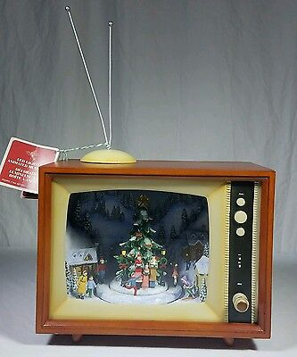 retro tv w christmas tree carolers lighted musical animated decoration - Christmas Tv Decoration