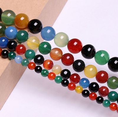 Colorful Agate Natural Round Gemstone Loose Spacer Beads Stone Strand 15.5""
