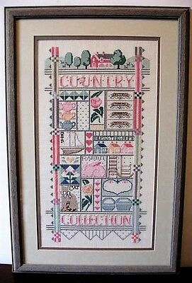 Completed Cross Stitch Sampler Professionally Framed Country Collection