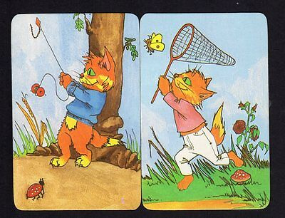 Vintage Swap Cards - Cute Kittens Outdoor Pair (BLANK BACKS)