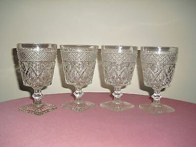 Set of 4 IMPERIAL Cape Cod Clear Glass Water / Wine Goblets
