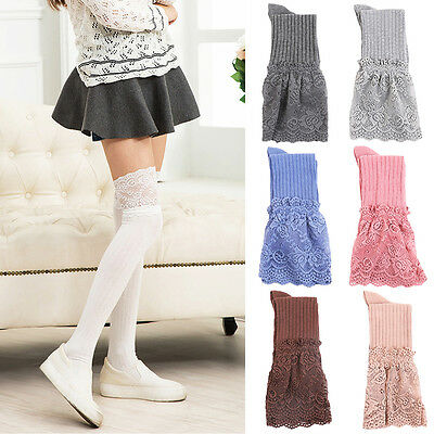 Girls Ladies Women Thigh High Over the Knee Lace Socks Long Cotton Stockings Lot