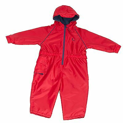 Hippychick Fleece Lined Waterproof Play Suit - Red (2-3 Years Kids/Child)