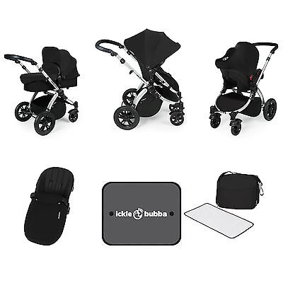 Ickle Bubba Stomp V3 PushChair/CarryCot/Seat Travel System - Black/Silver