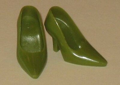 Vintage Barbie Repro-Randall Craig-Olive Green Heels Pumps Shoes-Mint