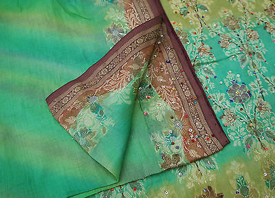 Vintage Saree 100% Pure Silk Green Embroidered Craft Fabric Ethnic Indian Sari