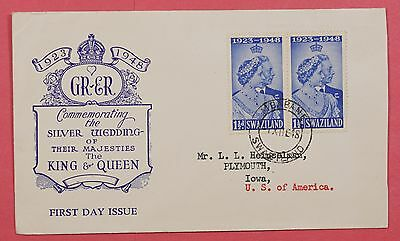 1948 Fdc Swaziland Silver Wedding Issue * Nice Cachet