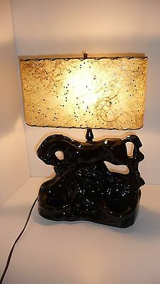 Black Horse Stallion Black Beauty Lamp with Side Planters Rare Vintage Lamp