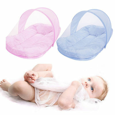 Foldable Crib Baby Mosquito Net With Cotton-padded Mattress Pillow Tent Cot Bed