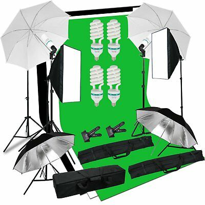 Photo Studio Continuous Softbox Umbrella Lighting Kit Backdrop Light Stand Set Y