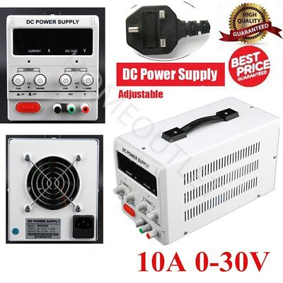CE 10A 0-30V Adjustable DC Power Supply Precision Variable Digital Lab w/clip AG