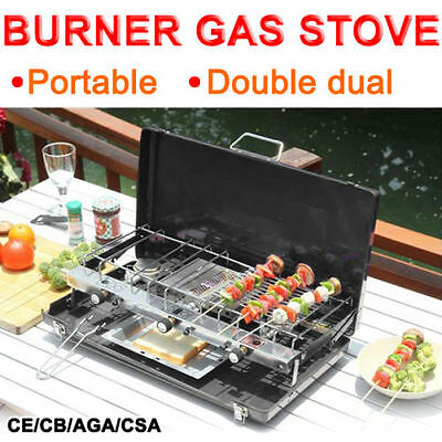 Foldable Gas stove 3 Burners Portable Camping Outdoor Cooker Grill Case