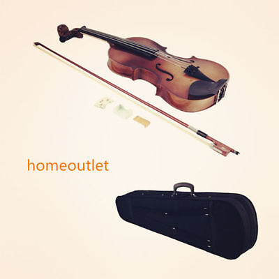 4/4 Full Size Natural Acoustic Wood Color Violin Fiddle & Case & Bow Rosin AYA